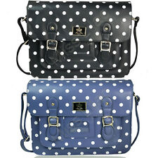 Polka Dot Leather Vintage Style Satchel Shoulder School Work Briefcase Bag
