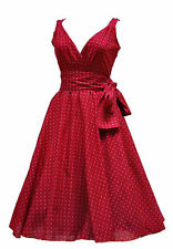 Ladies 1940s 1950s Heart  Cotton Flared Prom Party Swing Tea Dress BNWT 10 - 20