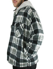 MEN'S PLAID FLANNEL SHIRT JACKET WITH HOOD FULL ZIPPER FRONT