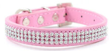 Bling Rhinestone Dog Pet Cat Puppy Pu Leather Collar Crystal Diamonds size S M