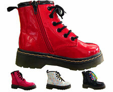 girls children kids ankle boots zip inside faux leather casual booty shoes