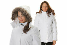 Womens Authentic Noize Winter Jacket - Abbey White Hooded with Fur Trim