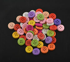 Wholesale Lots 50&100pcs 15mm 4 Holes Wood Buttons Craft Fit Sewing Scrapbook