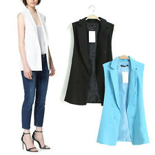 Fashion Chic Women Lapel Double-breasted Long Waistcoat Vest Cardigan Suit Tops