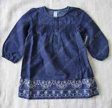 old navy baby girl Blue 3/4-length sleeves Embroidered Chambray Dress