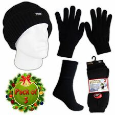 Mens Knitted 1xHat 1 Pair Thermal Gloves & 3 Thermal Socks Winter Gift Sets