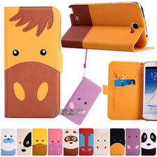 Cute Slim Cartoon Flip Leather Case Cover Stand for Samsung Galaxy Note 2 3 III