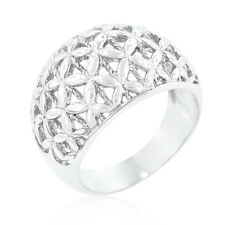 White Gold Rhodium Floral Filigree  Floral Decorations in Silver Cocktail Ring