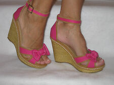 "New Open Toe Sandal Pink 4"" Heel & 1"" High Platform w Bow in Front."