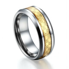Men Women's  Ring Tungsten Carbon Wedding Band Fiber Celtic Gold 6mm 8mm