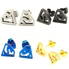 STAINLESS STEEL SUPERHERO SUPERMAN SYMBOL STUD EARRINGS 4 DIFFERENT COLOURS