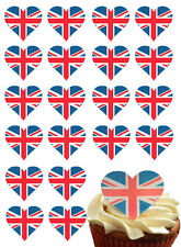 UNION JACK FLAG HEART EDIBLE WAFER PAPER CAKE TOPPERS BIRTHDAY PARTY DECORATIONS