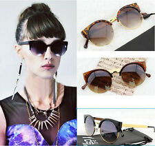 Womens Retro Vintage Inspired Metal Cat-eye Style Black Frame Lenses Sunglasses