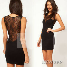 Sexy Women Ladies Sheer Lace Sleeveless Bodycon Party Mini Mesh Dress Black S M