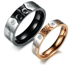 "Fleur-de-lis Engraved Stainless Steel ""Real Love"" Couples Wedding Ring Band"