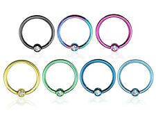 "PAIR 18g 16g~5/16"", 3/8"" Titanium Anodized C.Z. Captive Rings Earring  Lip Nose"