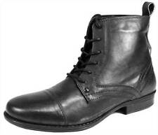 Red Tape Kelso Mens Leather Lace Combat Army Boots Black