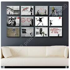 LARGE Canvas Banksy Graffiti Set of 12 Baloon Soldier Doctor prints photos