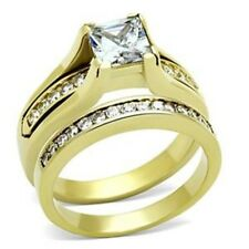 1 Ct Princess CZ Gold Ion Plated Stainless Steel Engagement 2 RINGS SET SZ 5-10