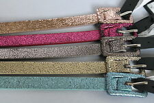 Women Thin Skinny PVC Glitter Type Belts in Various Colours - Seller