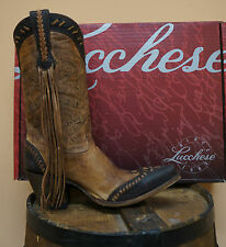 WOMENS LUCCHESE COWGIRL BOOTS! M5023.S53F NATURAL TAN FT. WORTH STITCH DESIGN!
