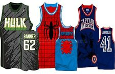 Men Marvel Comic Book Basketball Jersey Sleeveless Shirt Hulk Spiderman Captain