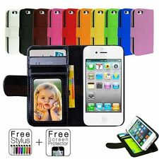 Leather Flip Wallet Case Cover For Apple iPhone 4S 4