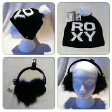 ROXY Let Loose Black Logo Hat Firetrap Faux Fur Ear Muffs Ski Skate Snowboard