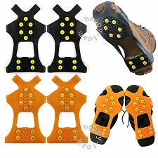 Pair of Traction Over Shoes Studded Snow & Ice Anti Slip Grip Cleats Crampons