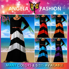New Angela Women Long Sleeve Rayon Print Maxi Dress Striped ZIG ZAG Size M-5X US