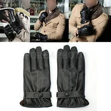 Men's Leather Winter Super Warm Gloves Cashmere Lining Cycling Gloves M L XL