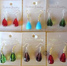 A Pair Of Big Glass Tear Drop Earrings With 925 Silver Hooks or Gold Tone Hooks