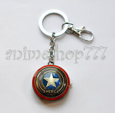 Captain America The Avengers Necklace Key Chain Watch Clock Horologe Free Ship