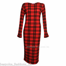 H4A New Womens Tartan Print Ladies Long Sleeve Bodycon Midi Dress Size SM ML
