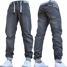 BNWT MENS ENZO JOGGER JEANS GREY CUFFED CHINO PANTS ELASTIC ALL WAIST SIZES