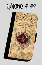 Harry Potter Inspired The Marauders Map iphone 4 4s iphone 5 wallet case Leather