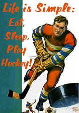 Vintage Life is Simple Play Hockey Quilting Fabric Block