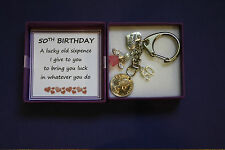 LUCKY SIXPENCE KEEPSAKE CHARM KEYRING 50th BIRTHDAY Gift Box Present Male Female