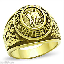 United States Veteran Military 18kt Gold Plated SS Mens Ring