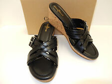 "NEW COLE HAAN CORBY 2 1/2"" BLACK LEATHER W/ BLK PATENT TRIM CORK WEDGE SLIDES"