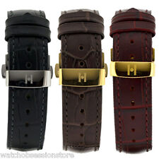 Hirsch DUKE Leather Watch Strap - BLACK BROWN or BURGUNDY & Deployment clasp
