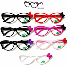 Hello Kitty Bowknot Round Glasses Frame w/Opti Clear Lens Spring Temple Frame