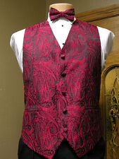 Vest Apple Red  Paisley Full Back Bow Tie Tuxedo Steampunk Wedding Prom Majestic