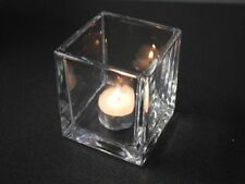24 x Clear glass tea light holder square cube 5cm & 8cm bulk wholesale lot