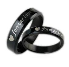 "Couple Heart Black Stainless Steel Promise Wedding Ring Band ""Forever Love"" USA"