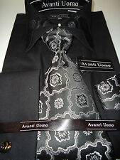 Mens Awesome Black French Cuff Dress Shirt Black, White Tie Cufflinks Included
