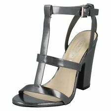 *SALE* LADIES SPOT ON METALLIC HIGH BLOCK HEEL FASHION SUMMER SANDALS F10231