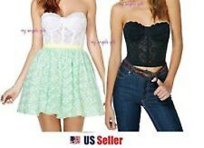 Floral Lace Crop Top Bustier Corset Bra Bralette Strapless Bodycon Cami Top