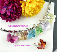 925 Sterling Silver 18mm Butterfly Pendant made with Swarovski Crystals