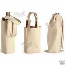 Liberty Bags Single or Double Bottle Wine Tote or Drawstring Bag 1725 Cotton